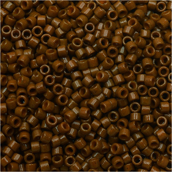 Miyuki Delica Seed Beads, 11/0 Size, 7.2 Grams, Duracoat Opaque Cognac DB2142