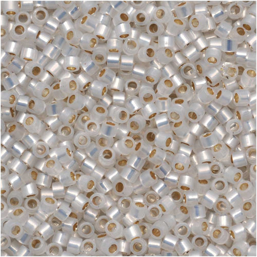 Miyuki Delica Seed Beads, 11/0 Size, 7.2 Grams, Gilt Lined White Opal DB221
