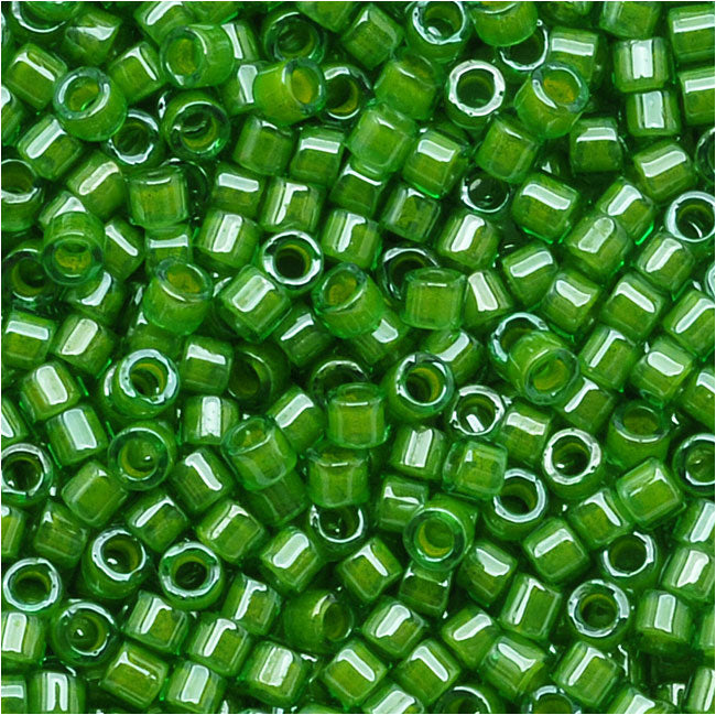 Miyuki Delica Seed Beads, 11/0 Size, 7.2 Grams, Lime Lined Crystal Green DB274