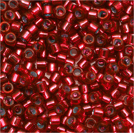 Miyuki Delica Seed Beads, 11/0 Size, 7.2 Grams, Silver Lined Red DB602