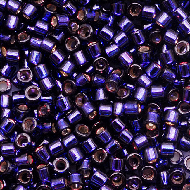 Miyuki Delica Seed Beads, 11/0 Size, 7.2 Grams, Silver Lined Dark Purple DB609