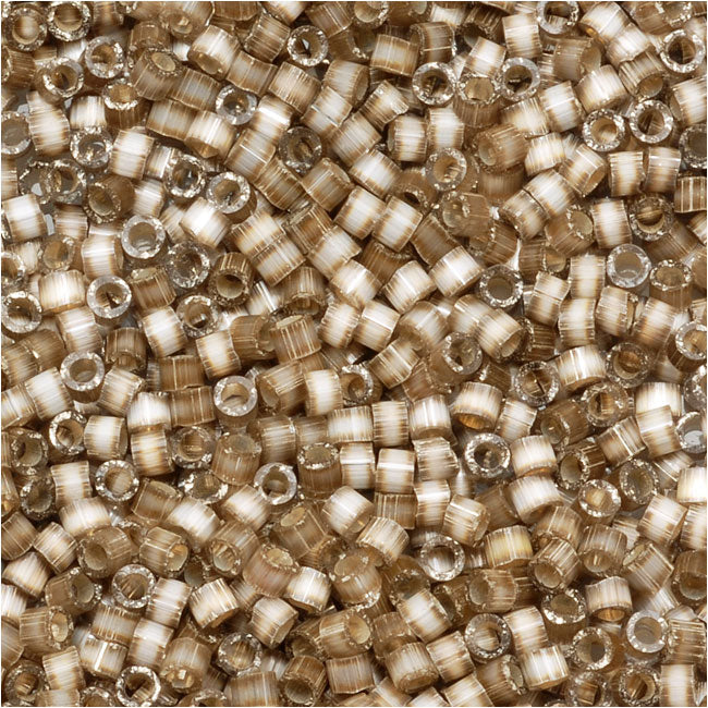 Miyuki Delica Seed Beads, 11/0 Size, 7.2 Grams, Silver Lined Variegated Taupe DB671