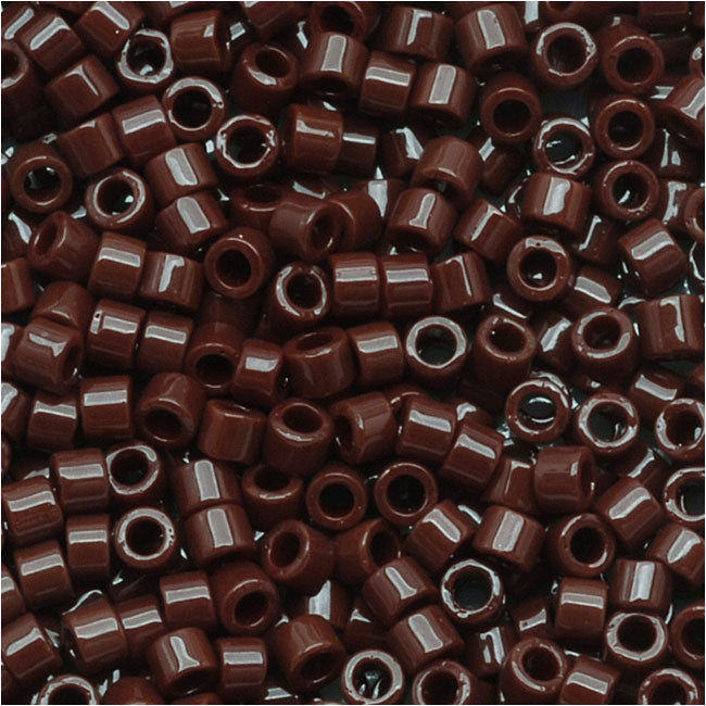Miyuki Delica Seed Beads, 11/0 Size, 7.2 Grams, Opaque Chocolate Brown DB734