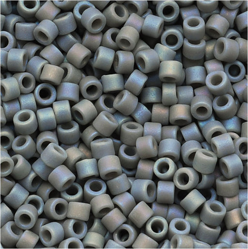Miyuki Delica Seed Beads, 11/0 Size, 7.2 Grams, Opaque Lt Grey Matte AB DB882