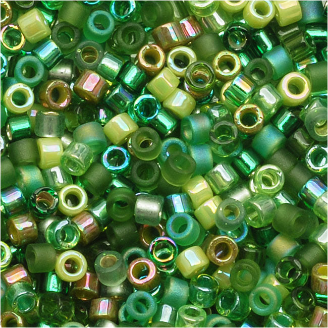 Miyuki Delica Seed Beads, 11/0 Size, 7.2 Grams, Mix Ever Green