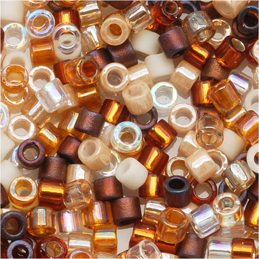 Miyuki Delica Seed Beads, 11/0 Size, 7.2 Grams, Mix Honey Butter Tan Brown