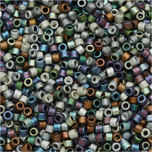 Miyuki Delica Seed Beads, 11/0 Size, 7.2 Grams, Mix Matte Heavy Metals