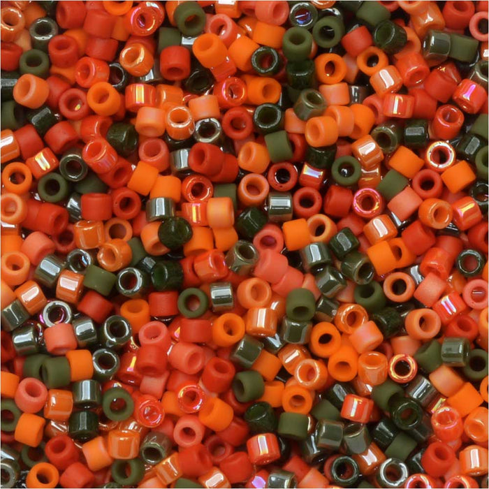 Miyuki Delica Seed Beads, 11/0 Size, #DB-MIX9008 Pumpkin Patch Mix, 7.2 Gram Tube