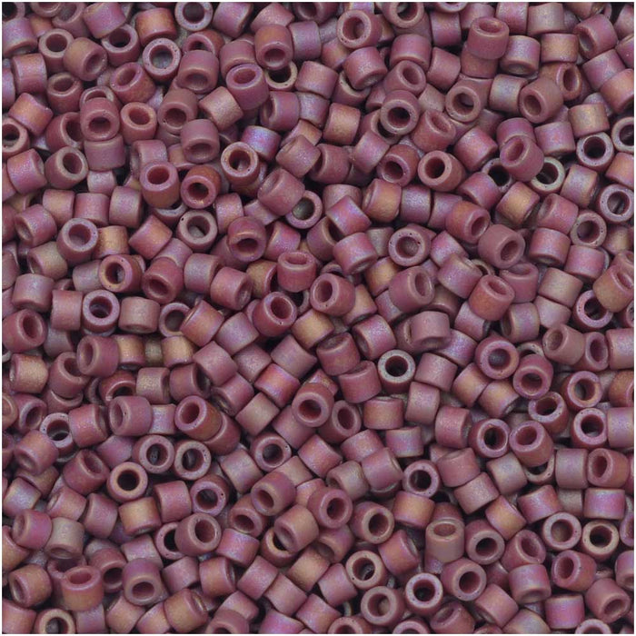 Miyuki Delica Seed Beads, 11/0, 50 Gram Bulk Bag, #2308 Frosted Opaque Glazed Rainbow Dark Red