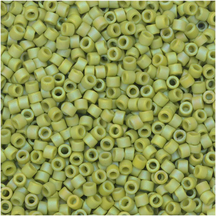 Miyuki Delica Seed Beads, 11/0, 50 Gram Bulk Bag, #2309 Frosted Opaque Glazed Rainbow Olive