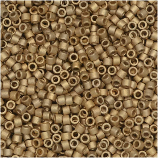 Miyuki Delica Seed Beads, 11/0, 50 Gram Bulk Bag, #334 Matte Metallic Dark Yellow Gold 24Kt Plated