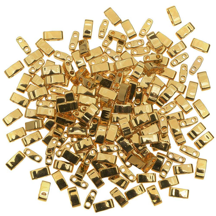 Miyuki Half Tila 2 Hole Rectangle Beads 5x2.3mm - 24K Gold Plated 7.8 Grams