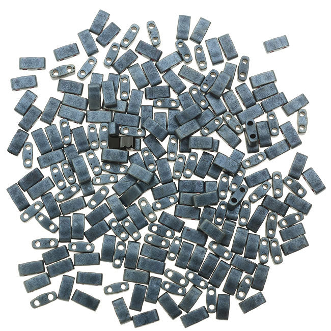 Miyuki Half Tila 2 Hole Rectangle Beads 5x2.3mm - Matte Blue Gray 7.8 Grams
