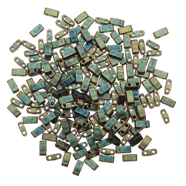 Miyuki Half Tila 2 Hole Rectangle Beads 5x2.3mm - Matte Metallic Green Iris 7.8 Grams