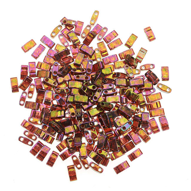 Miyuki Half Tila 2 Hole Rectangle Beads 5x2.3mm - Rose Gold Luster 7.8 Grams