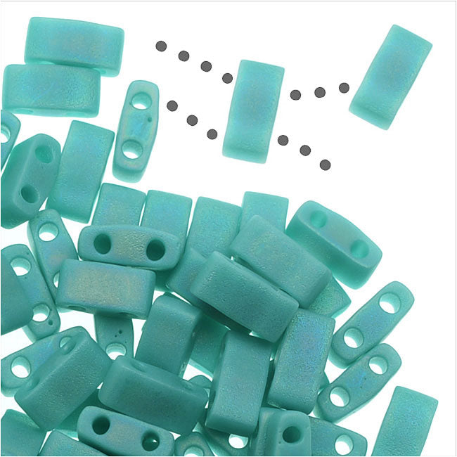 Miyuki Half Tila 2 Hole Rectangle Beads 5x2.3mm - Matte Opaque Turquoise AB 7.8 Grams