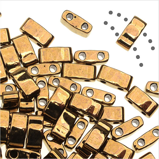 Miyuki Half Tila 2 Hole Rectangle Beads 5x2.3mm - Dark Bronze 7.8 Grams