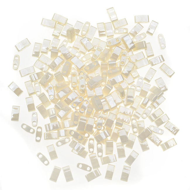 Miyuki Half Tila 2 Hole Rectangle Beads 5x2.3mm - Antiqued Ivory Pearl Ceylon 7.8 Grams