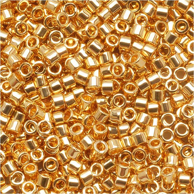 Miyuki Delica Seed Beads, 10/0 Size, 8 Grams, 24K Gold Plated DBM0031
