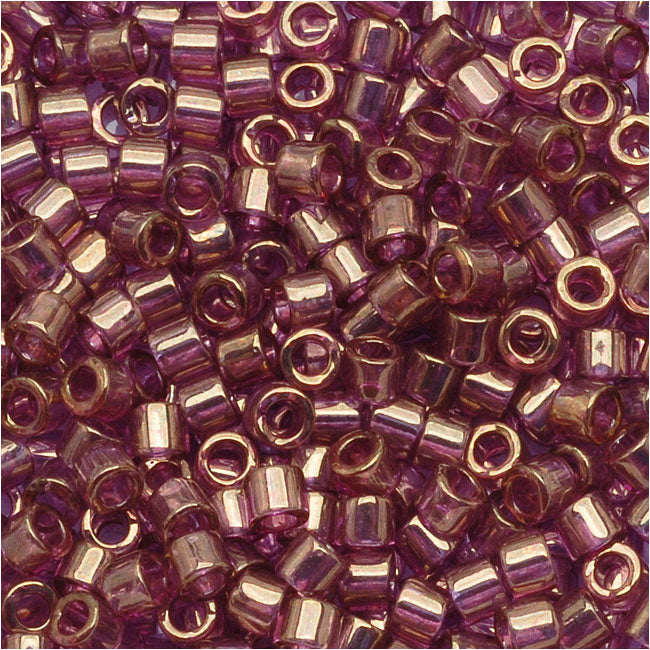 Miyuki Delica Seed Beads, 10/0 Size, 8 Grams, Gold Luster Amethyst DBM0108
