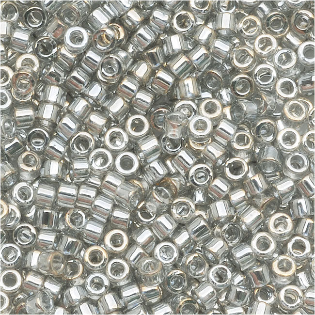 Miyuki Delica Seed Beads, 10/0 Size, 7.2 Grams, Transparent Silver Grey DBM0114