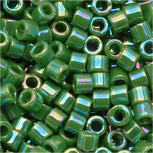 Miyuki Delica Seed Beads, 10/0 Size, 8 Grams, Opaque Green AB DBM0163