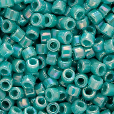Miyuki Delica Seed Beads, 10/0 Size, 8 Grams, Opaque Turquoise AB DBM0166