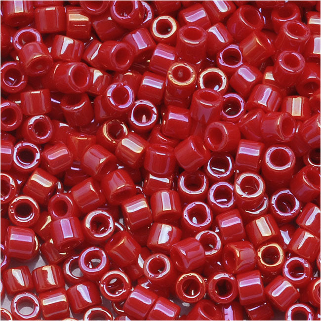 Miyuki Delica Seed Beads, 10/0 Size, 8 Grams, Opaque Red Luster DBM0214
