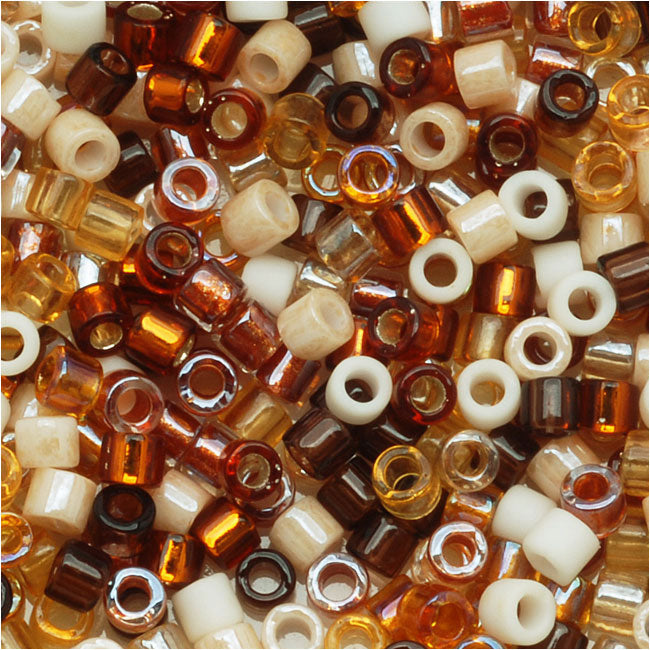 Miyuki Delica Seed Beads, 10/0 Size, 8 Grams, Mix Wheatberry Amber Brown