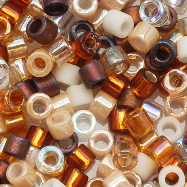 Miyuki Delica Seed Beads, 10/0 Size, 8 Grams, Mix Honey Butter Tan Brown