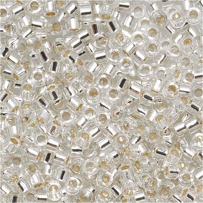 Miyuki Delica Seed Beads, 15/0 Size, 4 Grams, Silver Lined Crystal DBS041