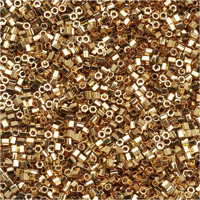 Miyuki Delica Hex Cut Seed Beads, 15/0 Size, 4 Grams, 24K Light Gold Plated DBSC034