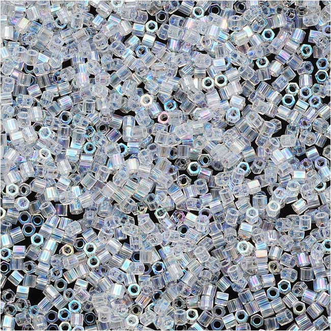 Miyuki Delica Hex Cut Seed Beads, 15/0 Size, 4 Grams, Crystal AB DBSC0051