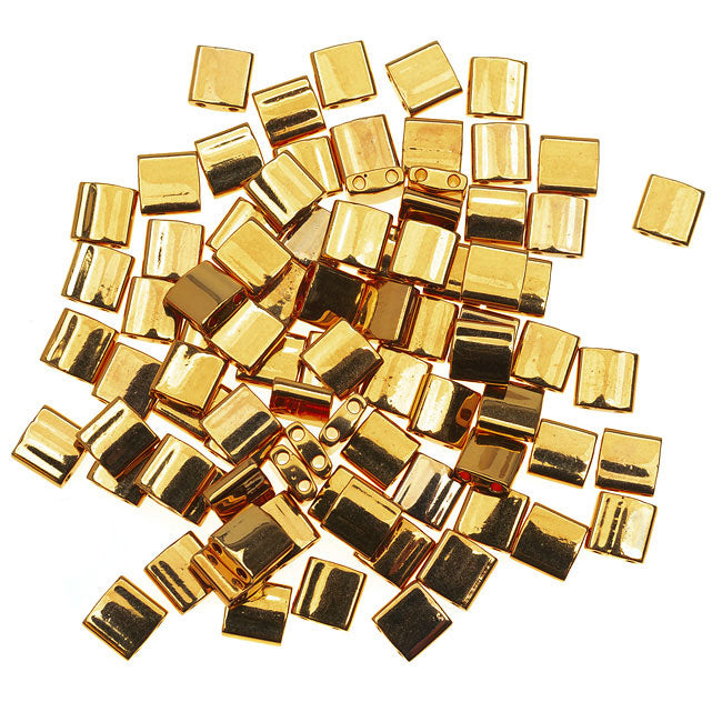Miyuki Tila 2 Hole Square Beads 5mm - 24K Gold Plated 7.2 Grams