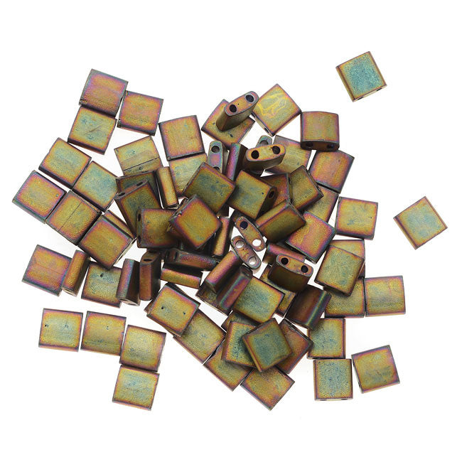 Miyuki Tila 2 Hole Square Beads 5mm - Matte Metallic Khaki Iris 7.2 Grams