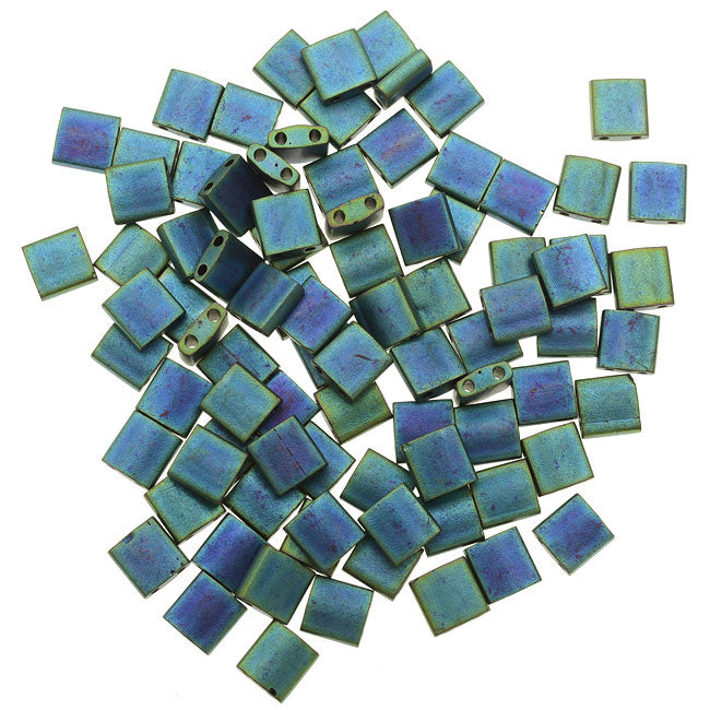 Miyuki Tila 2 Hole Square Beads 5mm - Matte Metal Blue Green 7.2 Grams