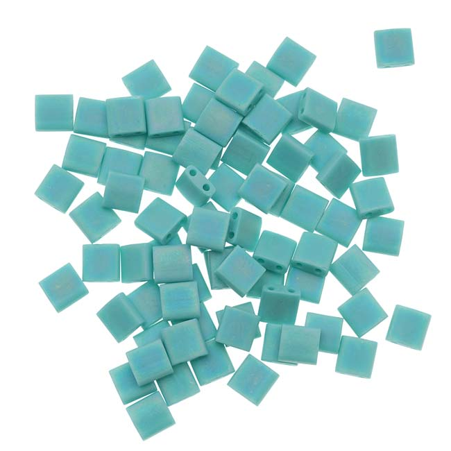 Miyuki Tila 2 Hole Square Beads 5mm 'Matte Opaque Turquoise AB' 7.2 Grams