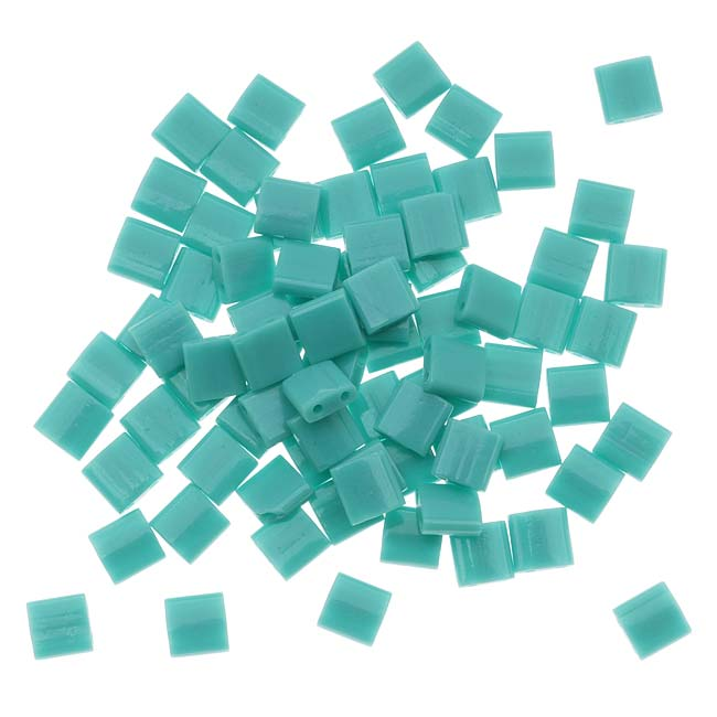Miyuki Tila 2 Hole Square Beads 5mm 'Opaque Turquoise Green' 7.2 Grams