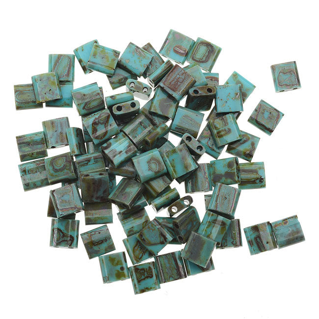 Miyuki Tila 2 Hole Square Beads 5mm - Matte Seafoam Green Picasso 7.2 Grams