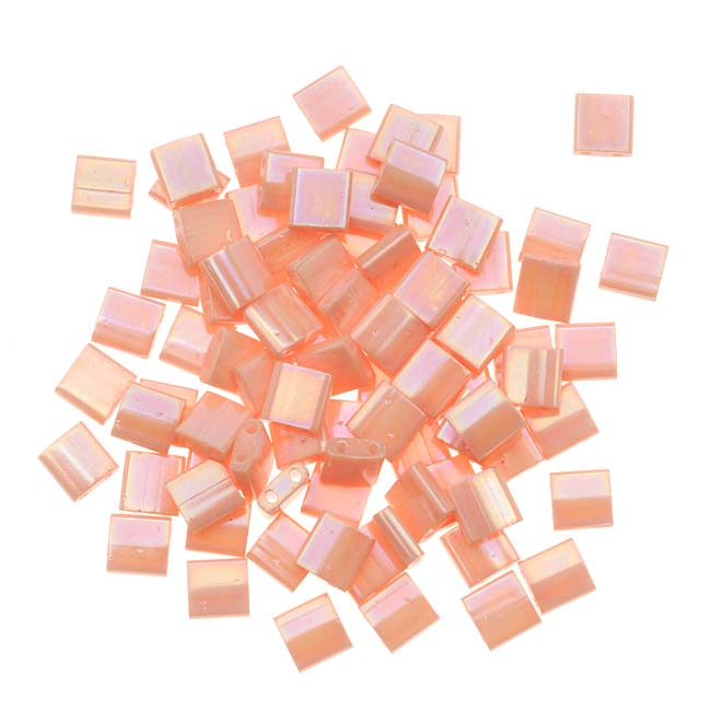 Miyuki Tila 2 Hole Square Beads 5mm 'Semi-Matte Opaque Salmon' 7.2 Grams