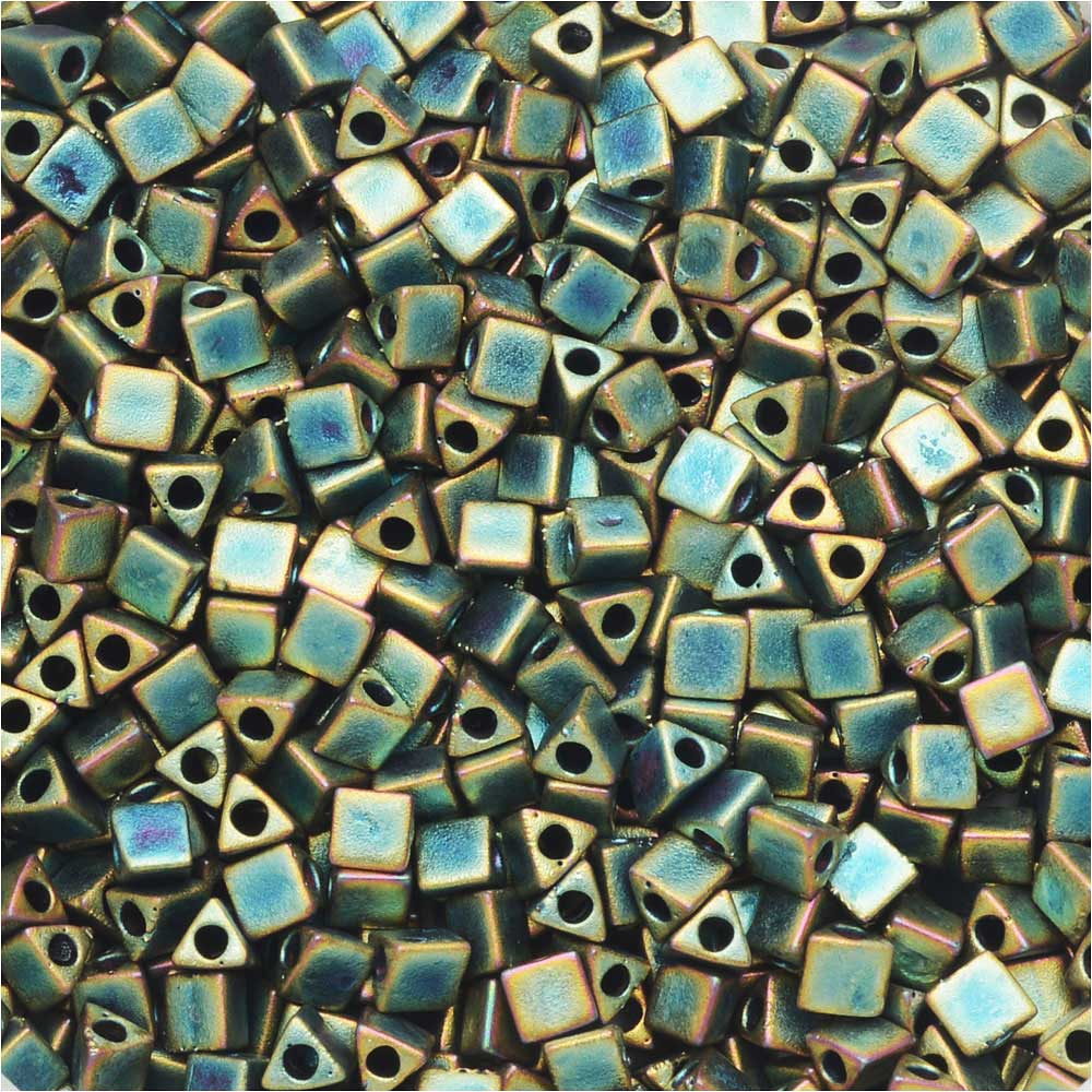 Miyuki, Sharp Triangle Beads 10/0, 7.5 Grams, Matte Metallic Patina Iris