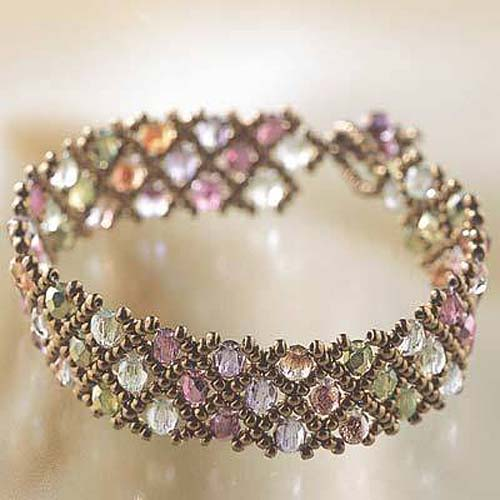 Create Your Own DIY Miyuki Glass Bead Bracelet Kit - Woven Net Pattern