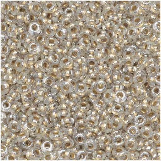 Toho Demi Round Seed Beads, Thin 11/0 (2.2mm) Size, 7.8 Grams, #989 Gold Lined Crystal
