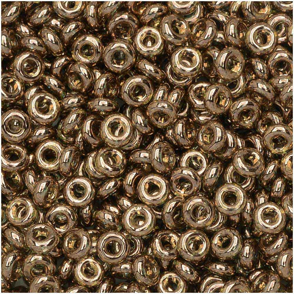Toho Demi Round Seed Beads, Thin 8/0 (3mm), 7.4 Grams, #204 Gold Lustered Montana Blue