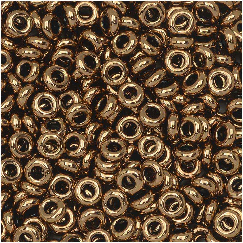 Toho Demi Round Seed Beads, Thin 8/0 (3mm) Size, 7.4 Grams, #221 Bronze