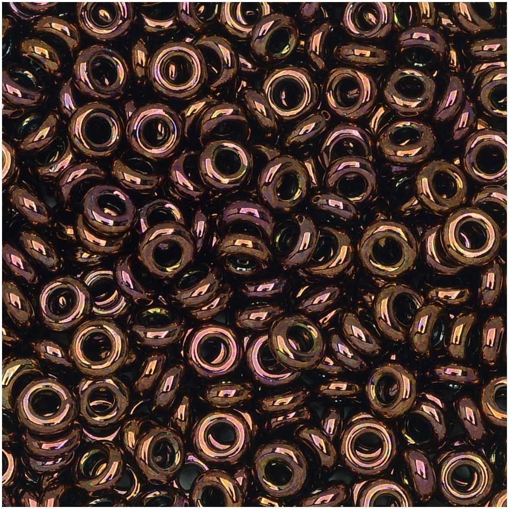 Toho Demi Round Seed Beads, Thin 8/0 (3mm) Size, 7.4 Grams, #224 Olympic Bronze
