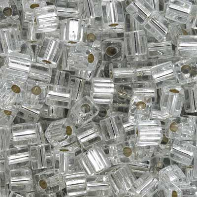 Miyuki 4mm Glass Cube Beads 'Silver Lined Crystal' #1 10 Grams