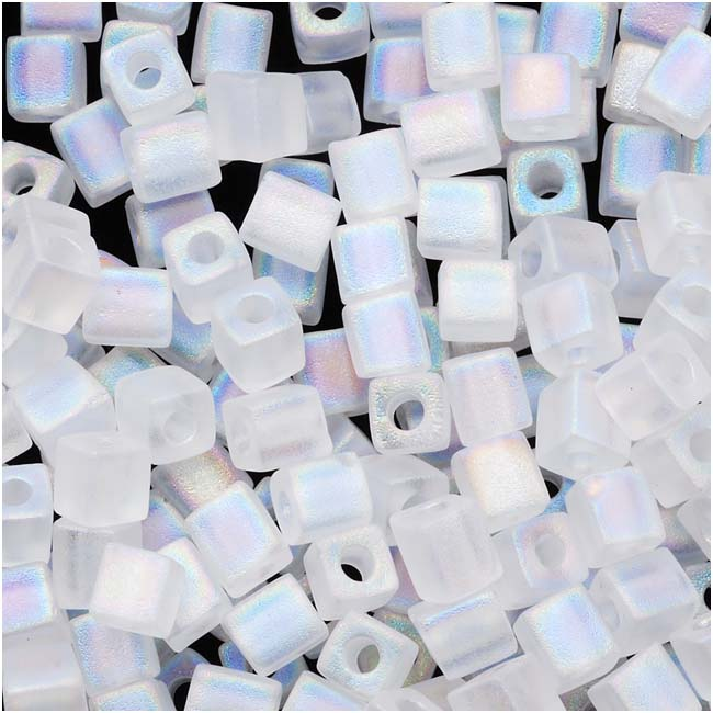Miyuki 4mm Glass Cube Beads 'Transparent Frosted Clear AB' #131FR 10 Grams