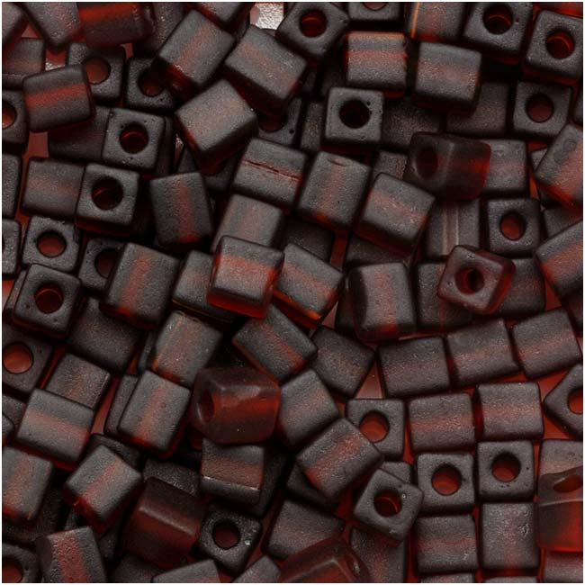 Miyuki 4mm Glass Cube Beads Transparent Frosted Dark Amber #134F 10 Grams