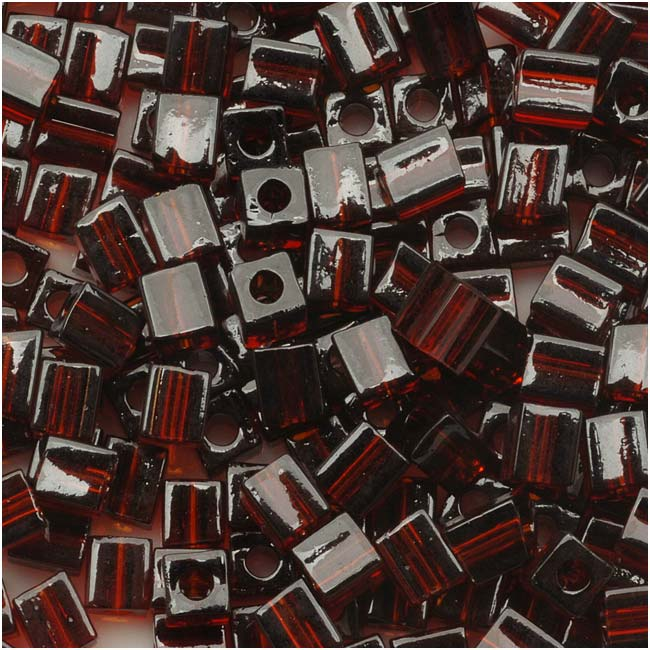 Miyuki 4mm Glass Cube Beads Transparent Dark Brown #134 10 Grams